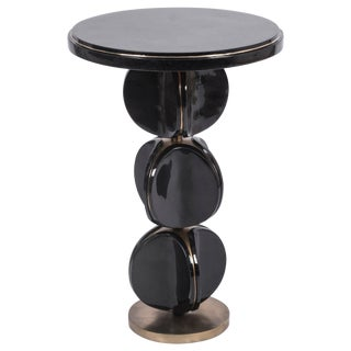 Totem Side Table in Black Shell & Bronze-Patina Brass by Kifu, Paris For Sale