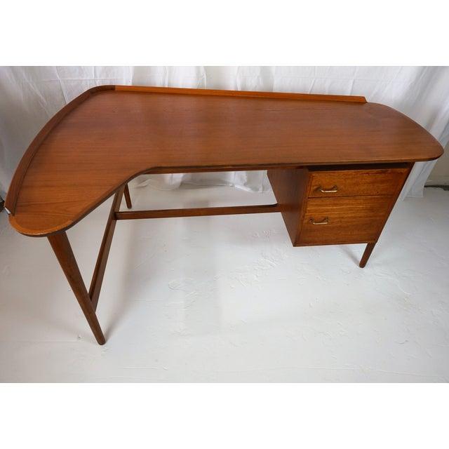 Bovirke Arne Vodder Danish Modern Boomerang Teak Desk For Sale - Image 4 of 11