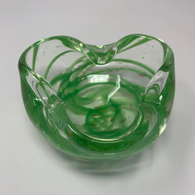 Green Vintage 1970s Green Murano Glass Dish or Ashtray For Sale - Image 8 of 8