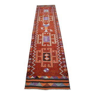 1970s Vintage Hand Knotted Tribal Turkish Runner Rug Hallway Decor Rare Pattern For Sale