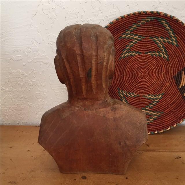 Vintage Hand Carved Female Bust Wood Sculpture - Image 5 of 9