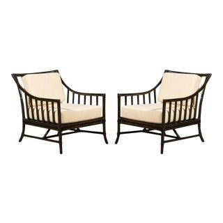 Restored Pair of Large Scale Vintage Rattan Lounge Chairs in Espresso For Sale