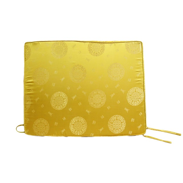 Chinese Oriental Golden Yellow Silk Fabric Rectangular Seat Cushion Pad For Sale
