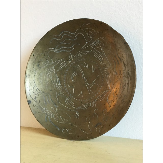 Asian Dragon Etched Brass Tray - Image 8 of 11