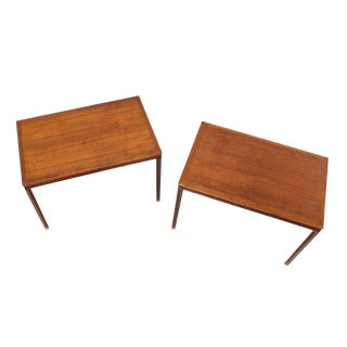 Pair of Danish Modern Teak Rectangular End Tables For Sale