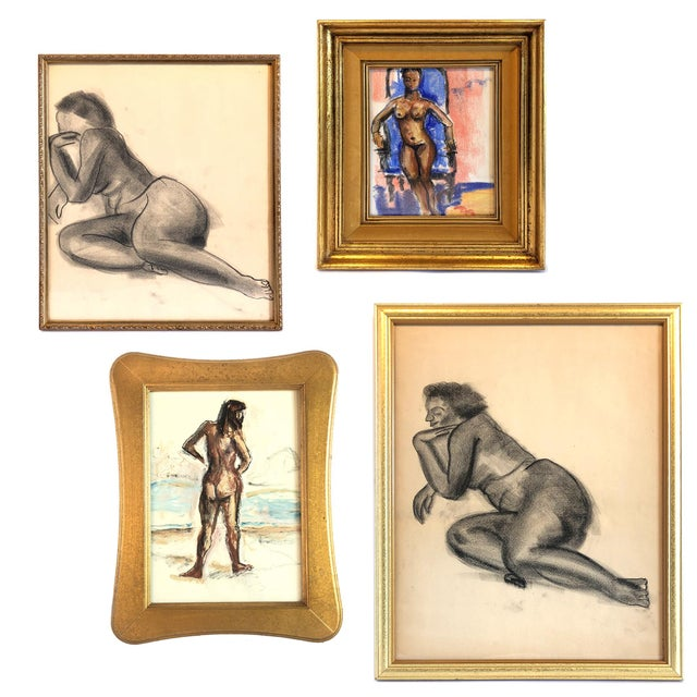 Mid-Century Gallery Wall Collection Nude Figure Drawings and Paintings - Set of 4 For Sale