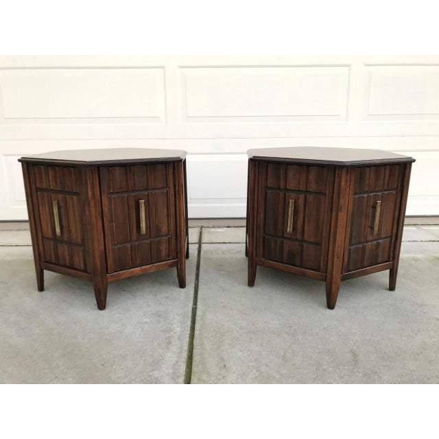 Mersman Mid Century Hexagon Brutalist-Style Side Tables or Nightstands - a Pair - Image 7 of 8