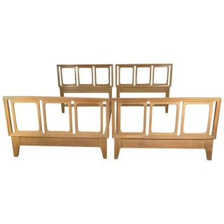 Blonde Mahogany Beds by Edward Wormley for Drexel Precedent - A Pair For Sale