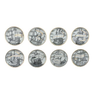 Mid Century Italian Piero Fornasetti for Bonwit Teller Tall Ship Coasters - Set of 8 For Sale