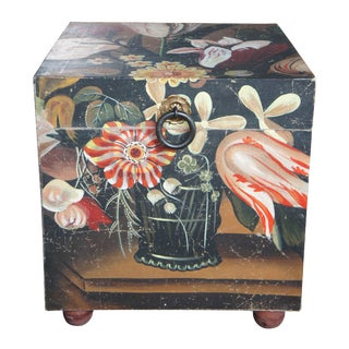 1990s Chinese Floral Painted Decorative Footed Trunk For Sale