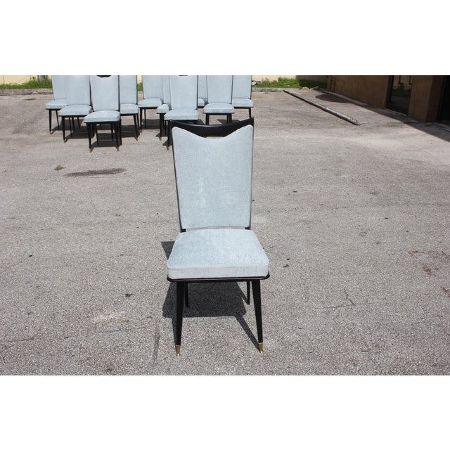 Blue Monumental Set of 12 French Art Deco Dining Chairs, Circa 1940s For Sale - Image 8 of 13