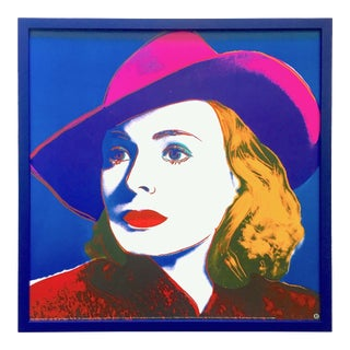 "Andy Warhol Foundation Rare Vintage 1993 Lithograph Print Framed Pop Art Poster "" Ingrid Bergman : With Hat "" 1983 For Sale"
