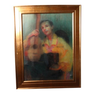 "1940s Eleanor Merriam Lukits ""The Guitarist"" Oil Pastel on Board Painting For Sale"