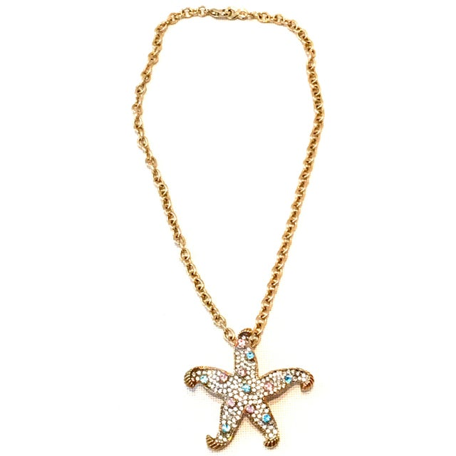 21st Century Gold Plate & Swarovski Crystal Starfish Pendant Necklace By, Kenneth Lane. This gold plate brilliant pave set...