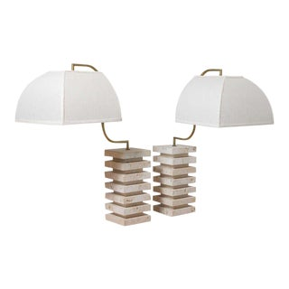 Italian Marble Table Lamps - A Pair