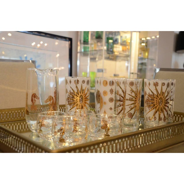 Eight Vintage Fred Press White and Gold Celestial Pattern Tom Collins Glasses - Image 7 of 8