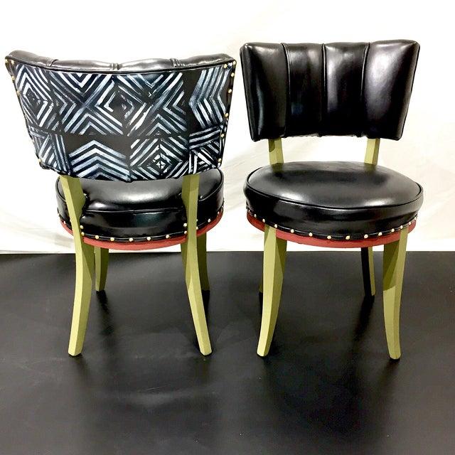 Vintage Tribal Vinyl Side Chairs - Pair - Image 2 of 7