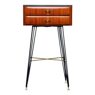 Mid Century Italian Two-Drawer Side Bedside Table With Hairpin Legs For Sale