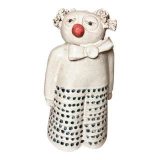 Mid Century Signed Studio Pottery Clown For Sale