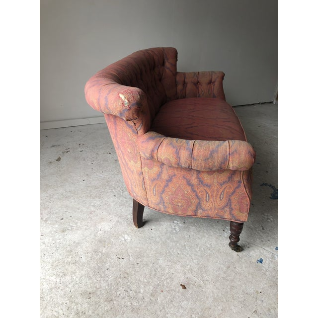 English Traditional Paisley Upholstered Loveseat Frame For Sale - Image 9 of 11