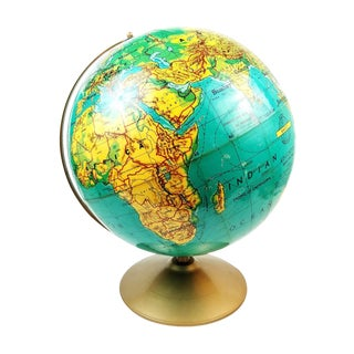 "Vintage 1976-79 Weber Costello 16"" Desk World Globe For Sale"