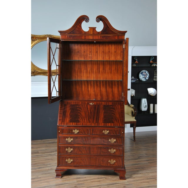 Traditional Traditional Mahogany Secretary Desk For Sale - Image 3 of 8