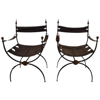 Pair of Italian Savronarola Iron Brass and Leather Chairs For Sale
