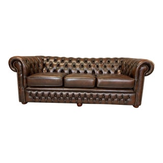 Vintage Mid-Century English Leather Chesterfield 3 Seat Sofa, Brown For Sale