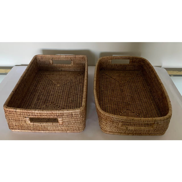 Contemporary Rattan Woven Baskets - a Pair For Sale - Image 3 of 11