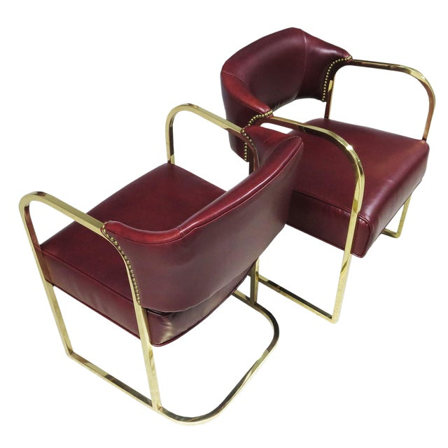 Art Deco - Mid Century Lounge Chairs – Polished Brass – Leather For Sale