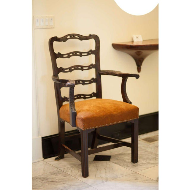 19th Century Vintage Mahogany Ladder Back Chairs- A Pair For Sale In Savannah - Image 6 of 8