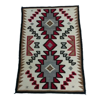 Navajo Hand Woven Wool Rug w/Beautiful Red & Brown Geometrics For Sale