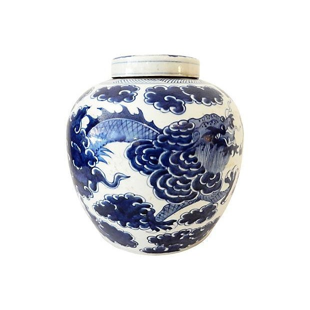 Asian Blue & White Ginger Jar w/ Dragon For Sale - Image 3 of 9