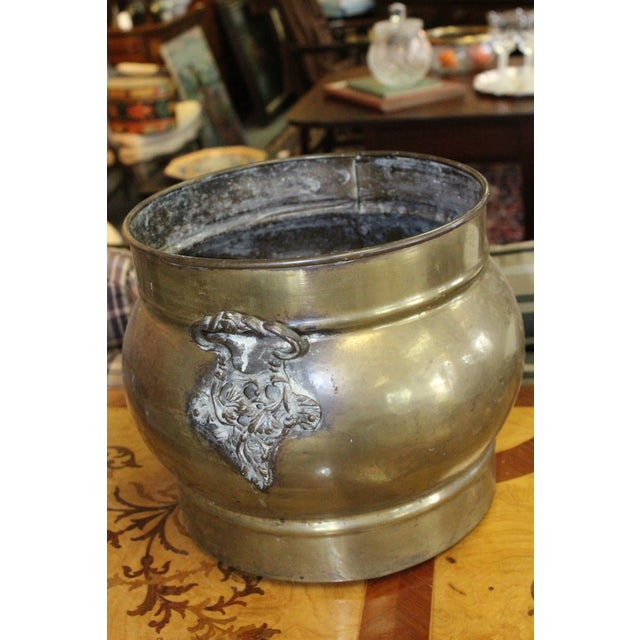 Art Nouveau Traditional Brass Fireplace Cachepot For Sale - Image 3 of 5