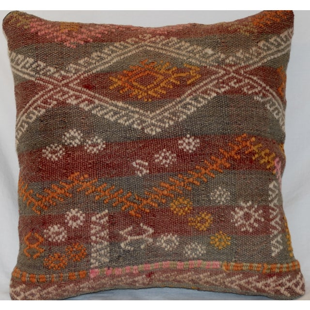 Red and Gray Vintage Handmade Wool Boho Pillow - Image 6 of 8
