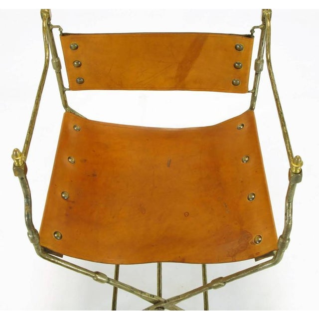 Brown Four Custom Leather and Hand-Forged Iron X-Base Sling Chairs For Sale - Image 8 of 10