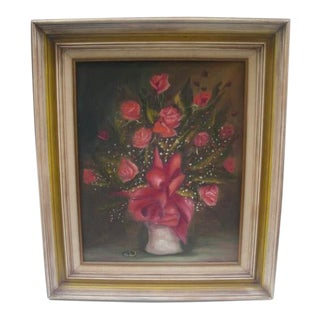 Traditional Rose Bouquet Floral Still Life With Wedding Bands For Sale