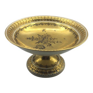 Dresden Saxony Gold Footed Compote For Sale