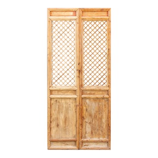 Asian Lattice Criss-Cross Wooden Screen Panel For Sale