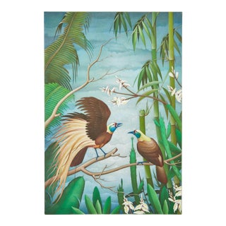"Mid 20th C. Balinese ""Birds of Paradise"" Painting For Sale"