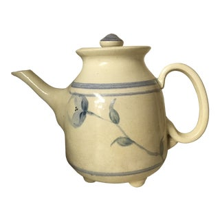 20th Century Cottage Rookwood Blue and Cream Teapot For Sale