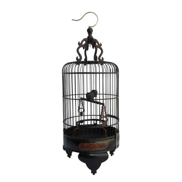 Chinese Handmade Rosewood & Burgh Wood Gold Line Inlay Round Birdcage For Sale