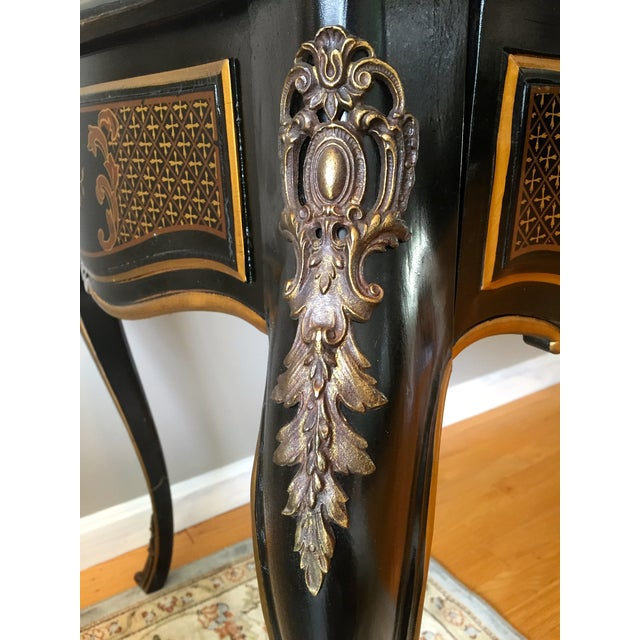 Drexel Chinoiserie Leather Writing Desk & Chair - Image 5 of 11