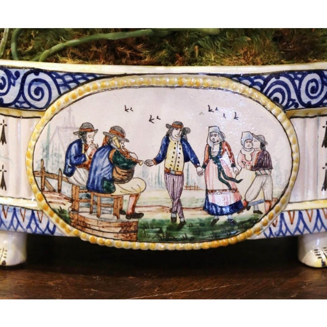French 19th Century French Hand Painted Faience Jardinière Signed Hb Quimper For Sale - Image 3 of 13