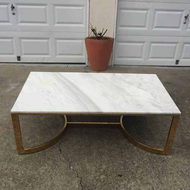 Gorgeous marble table perfect for a living room. Small 1/2 inch chip which does not take away from the integrity of the...