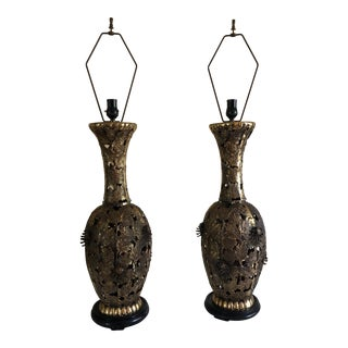 Decorative Brass Table Lamps - A Pair For Sale
