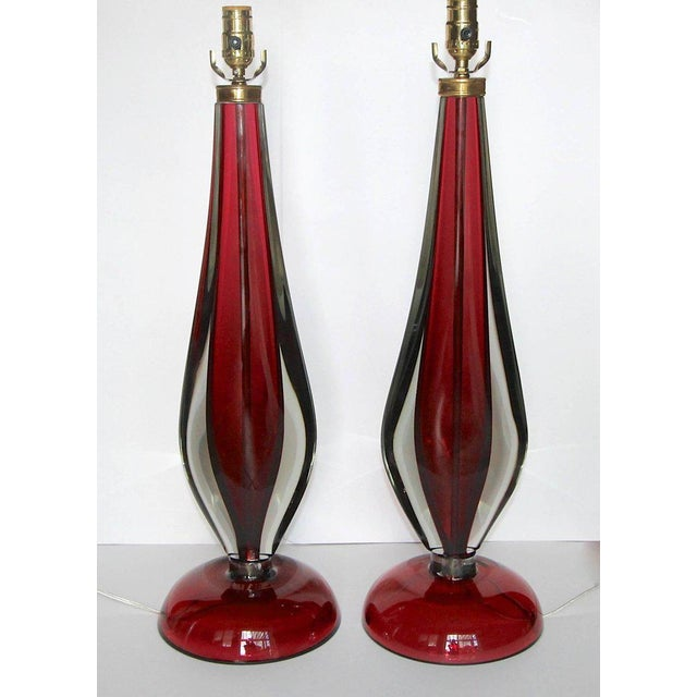 "Pair large-scale Italian ""Sommerso"" handblown vibrant red and clear colored glass table lamps by Flavio Poli for Seguso...."
