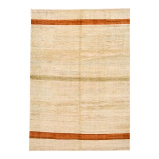 Contemporary Beige/Sand Gabbeh Handmade Wool Rug For Sale