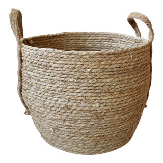 Natural Woven Seagrass Storage Round Basket For Sale