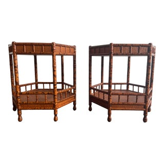 Faux Bamboo and Cane End Tables or Nightstands - a Pair For Sale